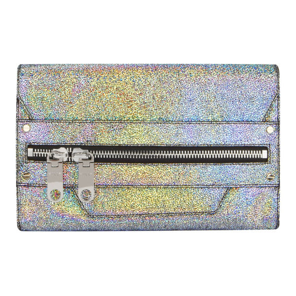 MILLY Delano Metallic Leather Hand Through Clutch Bag - Silver