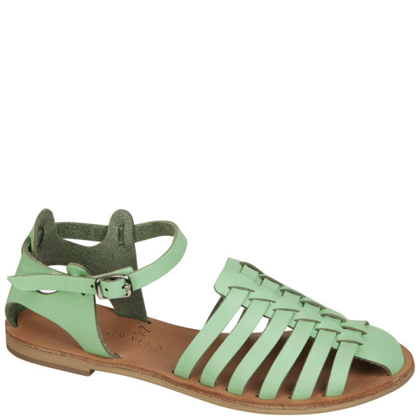 Grafea Women's Apple Blossom Leather Sandals - Mint Green