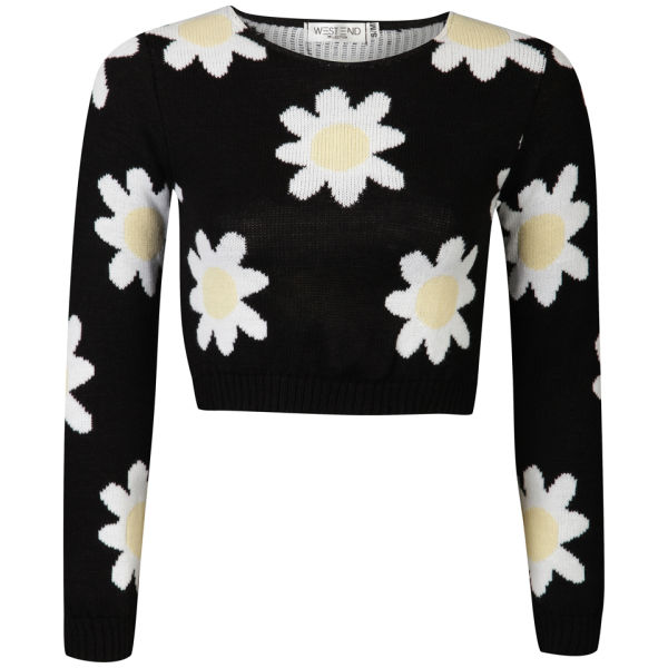 Moku Women's Daisy Crop Knit Jumper - Black