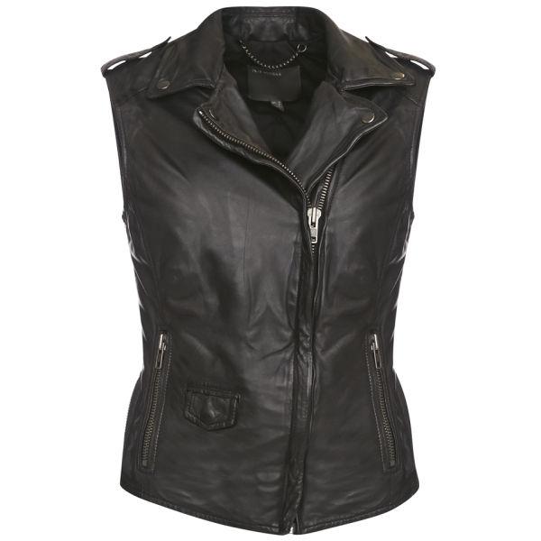 Muubaa Women's Lynn Sleeveless Biker Jacket - Black