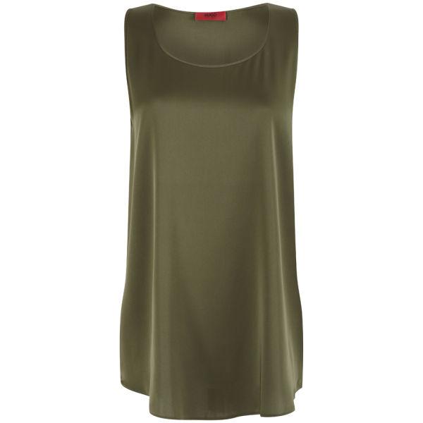 HUGO Women's Cendis Silk Top - Dark Beige/Khaki