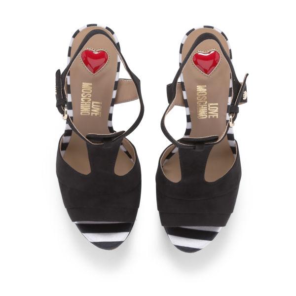07c721b3919 Love Moschino Women s Platform Sandals - Black White  Image 2
