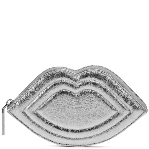 Lulu Guinness Women's Medium Lips Quilted Nappa Leather Purse - Silver
