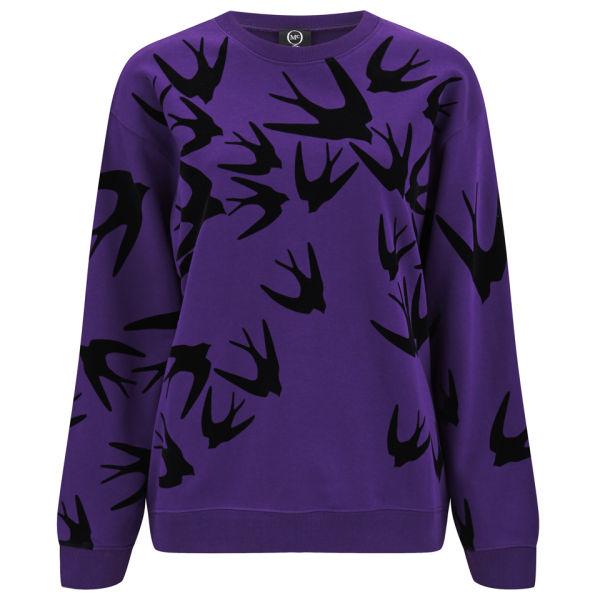 McQ Alexander McQueen Women's Classic Birds Sweatshirt - Fig With Block Flock
