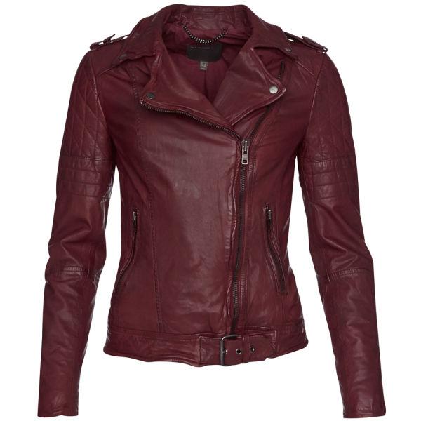 Muubaa Women's Nido Quilted Biker Jacket - Deep Red