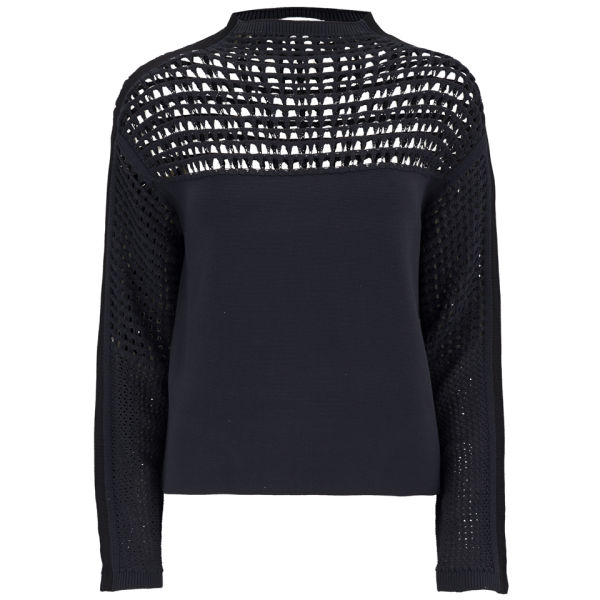 Helmut Lang Women's Micro Grid Crop Jumper - Black