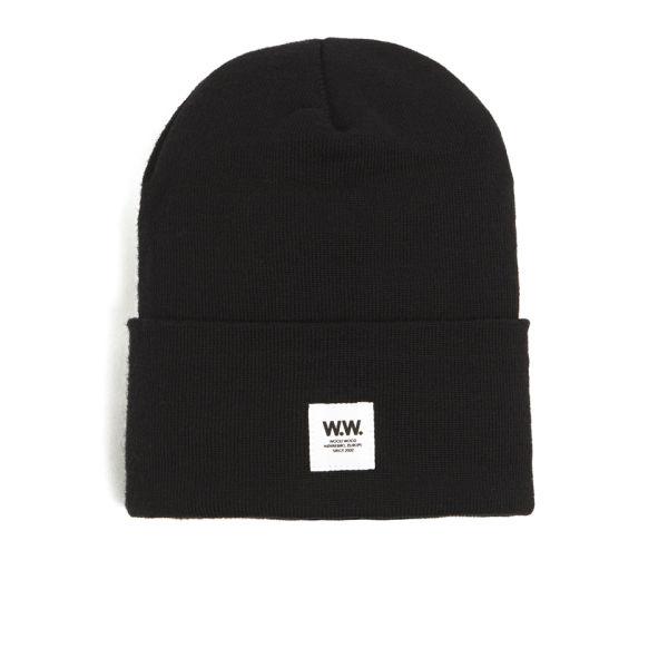 Wood Wood Tall Italian Merino Wool Beanie Hat - Black - Free UK Delivery  over £50 5f968535fc9