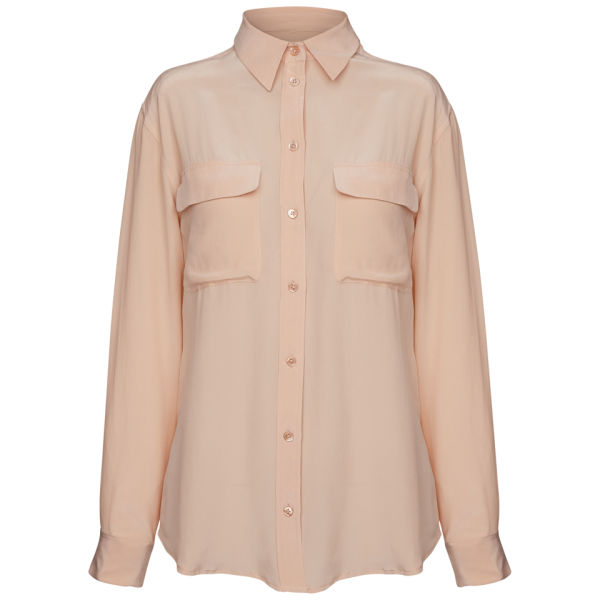 Equipment Women's Classic Double Pocket Oversized Blouse - Nude