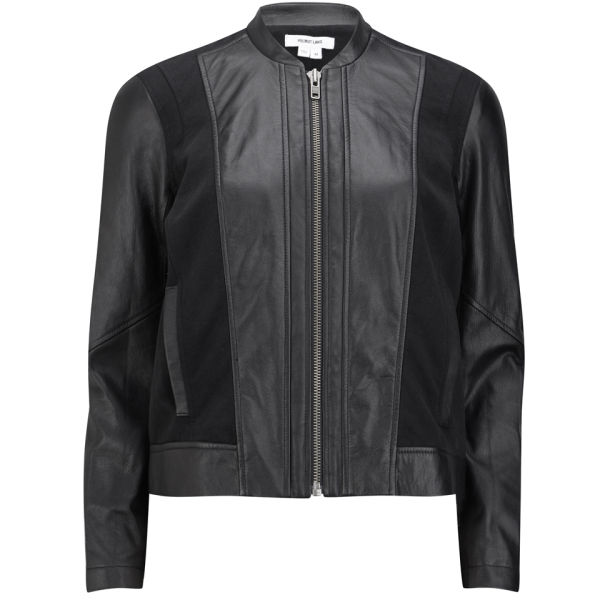 Helmut Lang Women's Leather and Jersey Sweat Combo Jacket - Black