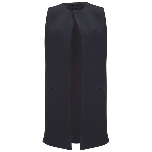 Victoria Beckham Womens Sleeveless Wool Coat - Navy