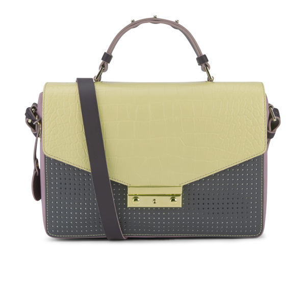 M Missoni Women's Leather Perforated Colourblock Small Cross Body Bag - Cream