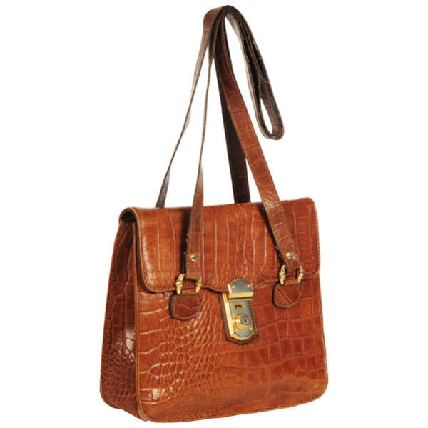 Francesco Biasia Vintage Leather Croc Effect Shoulder Bag  Image 2 e1547467f8417