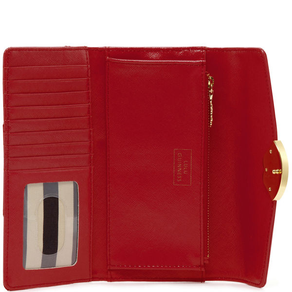 Lulu Guinness Women S Large Trifold Cross Hatched Leather