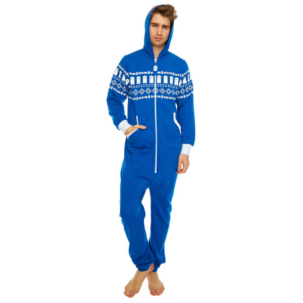 Doctor Who Tardis Fairisle Print Cotton Onesie - Blue - One Size