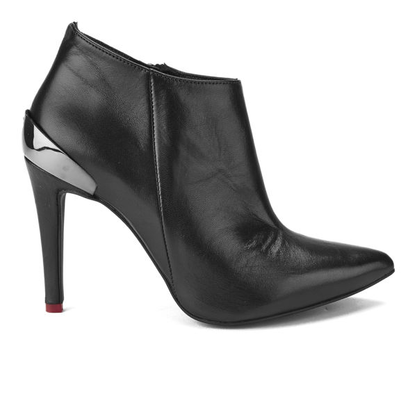 Love Moschino Women's Scarponcino Heeled Leather Ankle Boots - Black