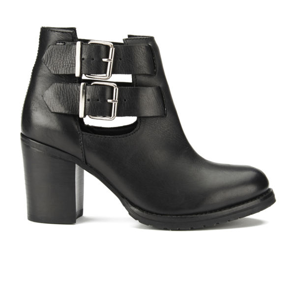 Ravel Women's Montana Leather Heeled Ankle Boots - Black