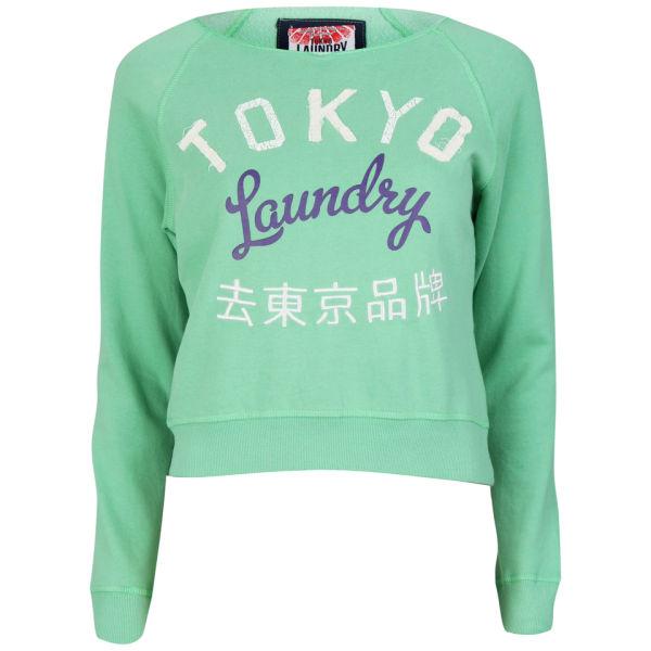Tokyo Laundry Women's Long Sleeve Cropped Sweatshirt - Washed Green