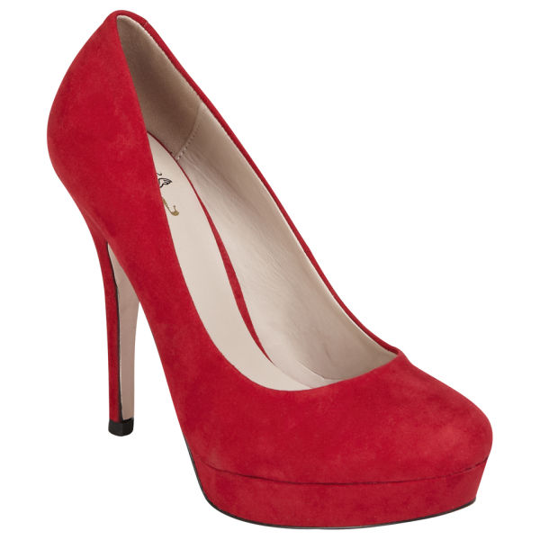 Miss KG Women's Cara Heeled Suedette Court Shoes - Red