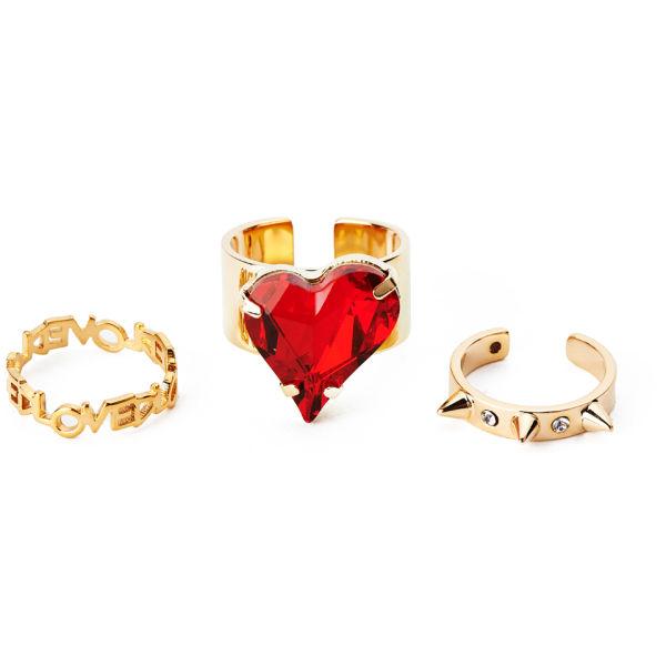 Maria Francesca Pepe Heart and Midi Ring Set - Gold