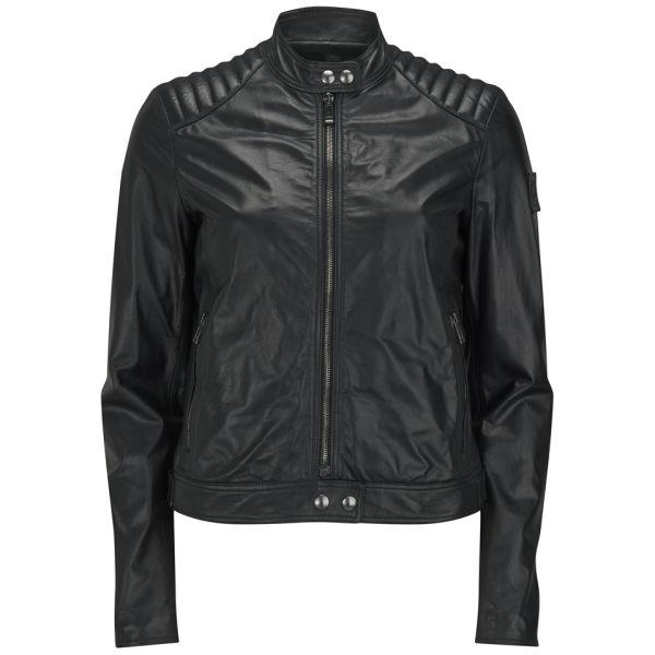 Belstaff Women's Saxby Leather Bomber Jacket - Black
