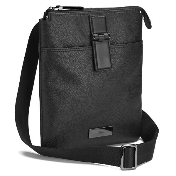 Boss Hugo Men S Rubik Leather Small Messenger Bag Black Image 2