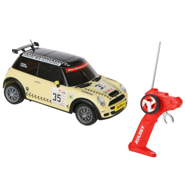 race tin mini cooper remote control car yellow and black toys zavvi australia. Black Bedroom Furniture Sets. Home Design Ideas