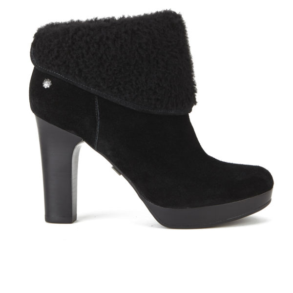 UGG Women's Dandylion Suede/Sheepskin Heeled Ankle Boots - Black