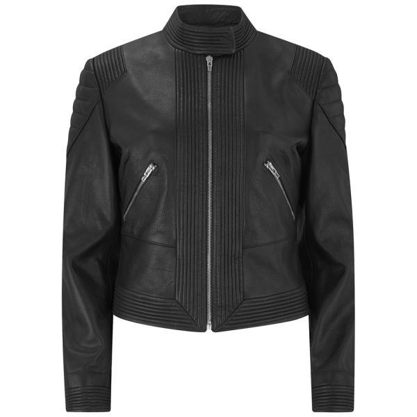 McQ Alexander McQueen Women's Biker Leather Jacket - Jet Black