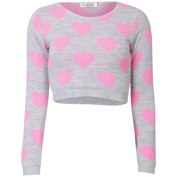 Women's Heart Crop Knit Jumper - Grey/Pink