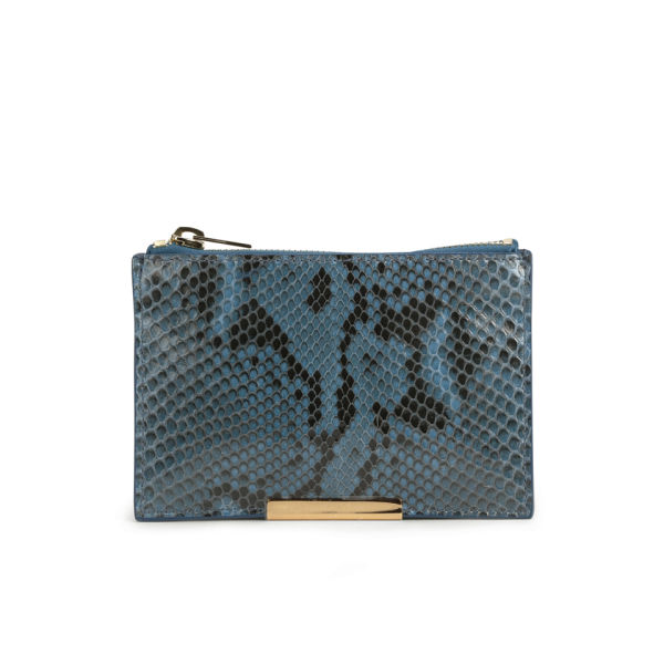 Sophie Hulme Small Zip Snake Leather Pouch Wallet - Blue