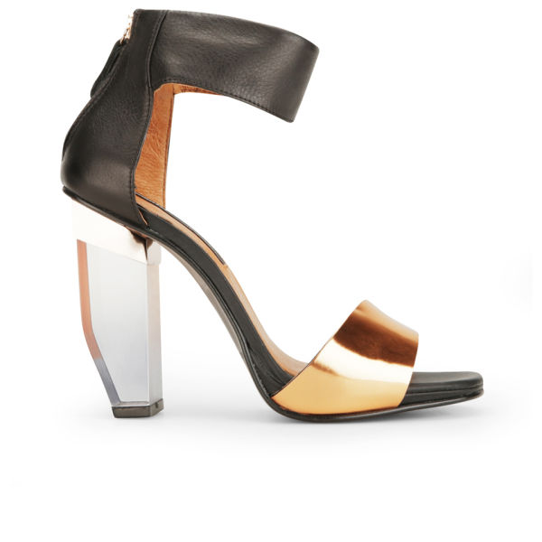 Miista Women's Jayda Perspex Heeled Leather Sandals - Black/Bronze