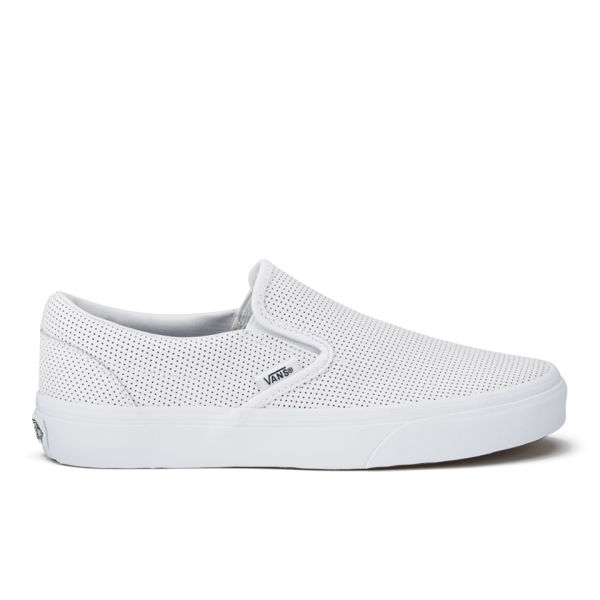 Vans Women s Classic Perforated Leather Slip-On Trainers - White ... 30c8f96ce