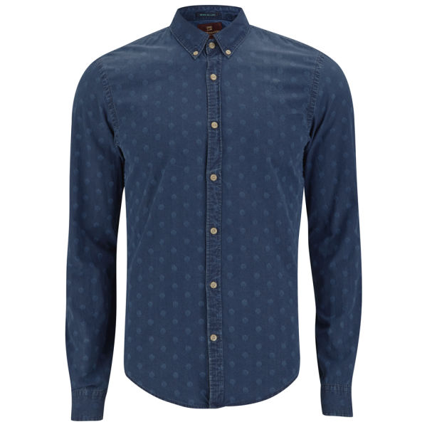 Scotch soda men 39 s button down polka dot denim dress for Button down polka dot shirt