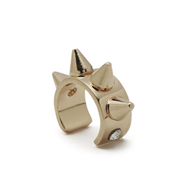 Maria Francesca Pepe Thin Earcuff with Spikes - Gold