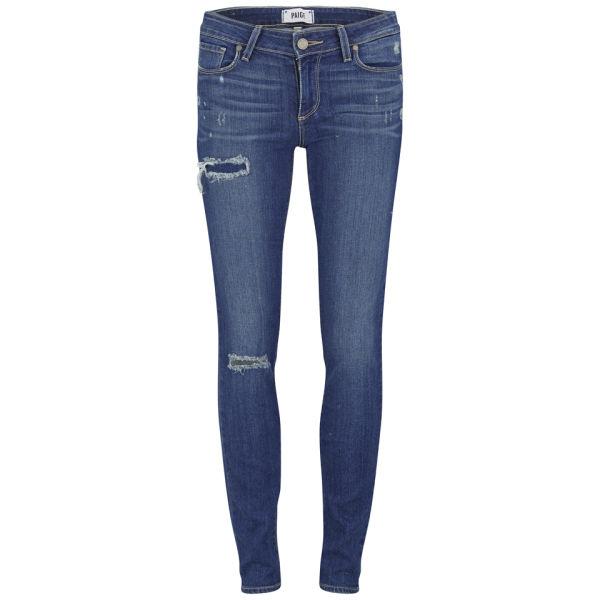 Paige Women's Mid Rise Carmen Distressed Mid Rise Skinny Jeans - Light Blue