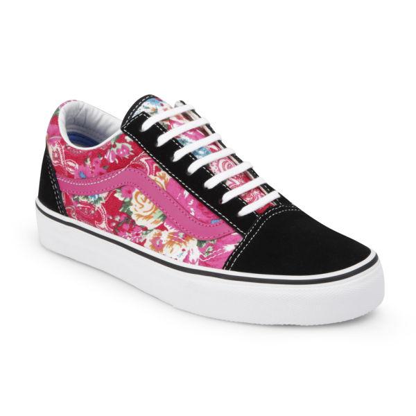 vans women 39 s old skool multi floral trainers pink black. Black Bedroom Furniture Sets. Home Design Ideas