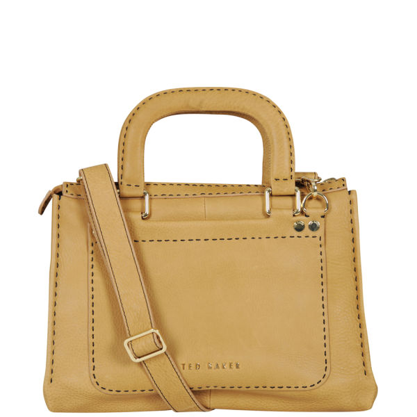 Ted Baker Hickory Leather Stab Stitch East West Tote Bag Tan