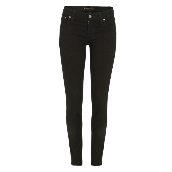 Nudie Women's Tight Long John Organic Skinny Jeans - Black Black