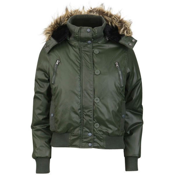 Brave Soul Women s Hooded Bomber Jacket with Fur Trim - Forest Green  Image  1 873a3ffdfdda