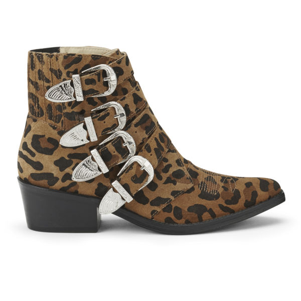 Toga Pulla Women's Leopard Print Suede Buckle Ankle Boots - Tan