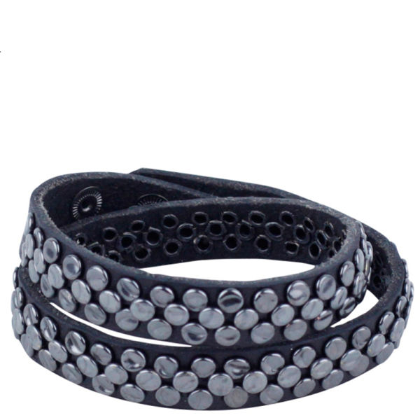 Markberg Lulu Studded Leather Bracelet - Black/Gunmetal