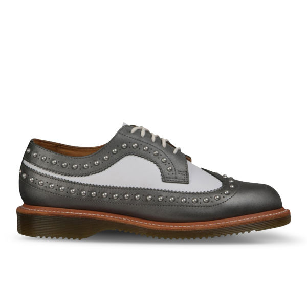 Dr. Martens Womens Windsor Pip Studded Wingtip Brogues - Pewter/White