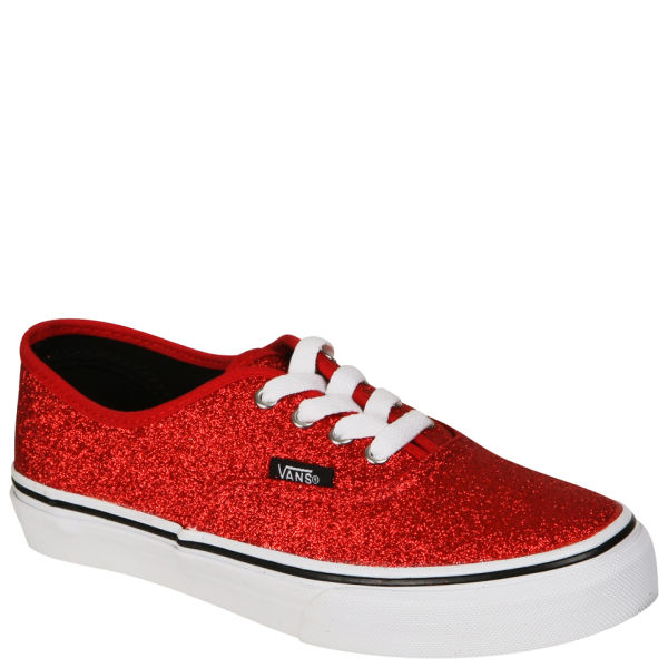 Vans Kids' Authentic Canvas Trainers - Glitter Red