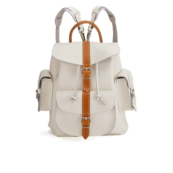 Grafea Villa Bianca Medium Leather Rucksack - White/Tan