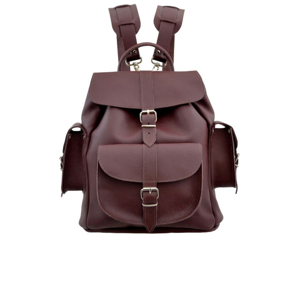 Grafea Women's Wine Medium Leather Backpack - Burgundy - Free UK ...