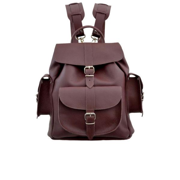 Grafea Women's Wine Medium Leather Backpack - Burgundy - Free UK ...