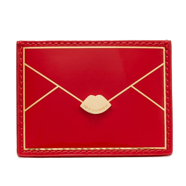 Lulu Guinness Patent Lip Fastening Envelope Cardholder - Red