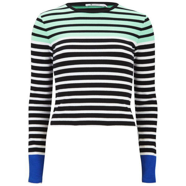 T by Alexander Wang Women's Stretch Cotton Engineer Stripe Long Sleeve T-Shirt - Seafoam and Black