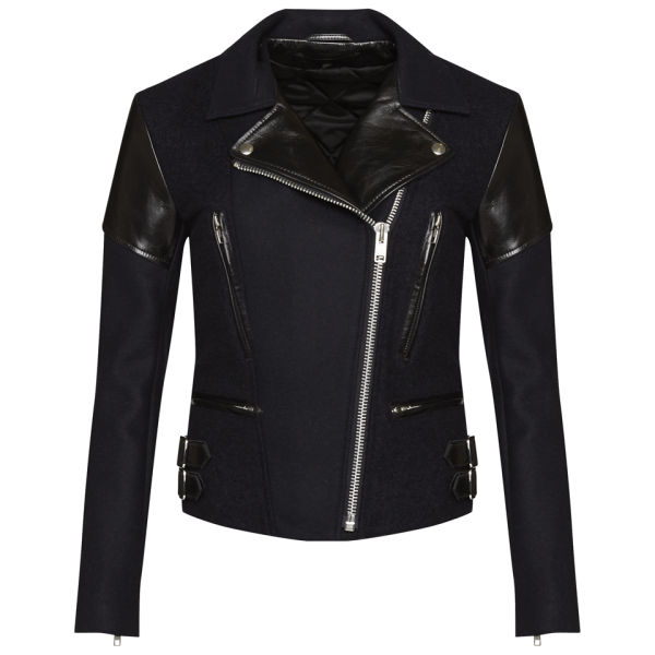 Victoria Beckham Women's Wool and Leather Biker Jacket - Navy