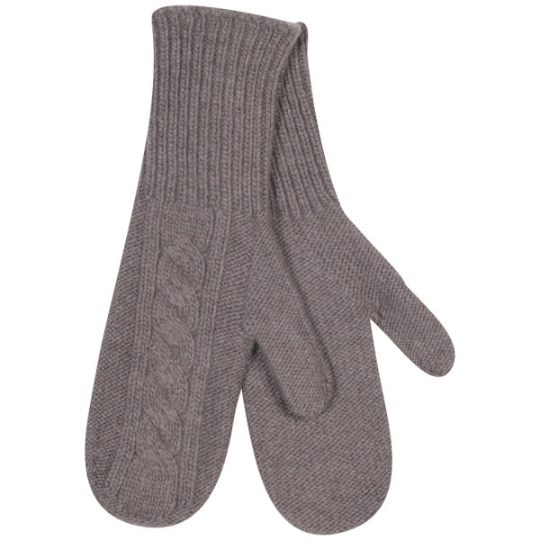 Johnstons of Elgin Cable Knit Cashmere Mittens - Driftwood
